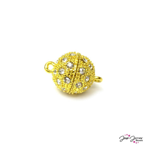 Disco Ball Gold & Rhinestone Magnetic Clasp