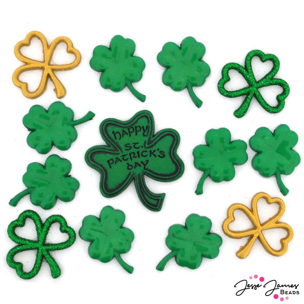 Color Me.. GREEN Christmas St Patrick/'s Day Ireland Dress It Up Craft Buttons