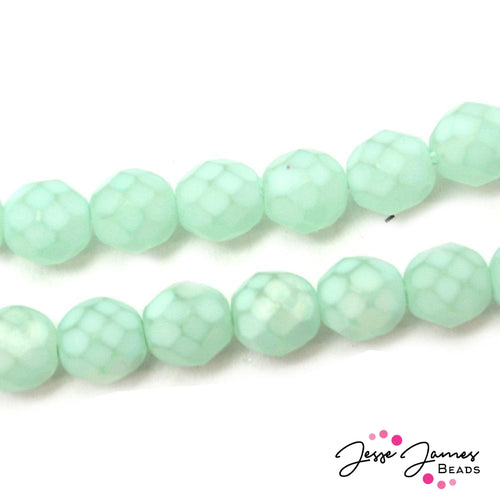 Fire Polish Matte Aqua 8MM Czech Beads
