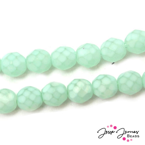 Blue Aqua Fire Polish Matte 8MM Czech Beads