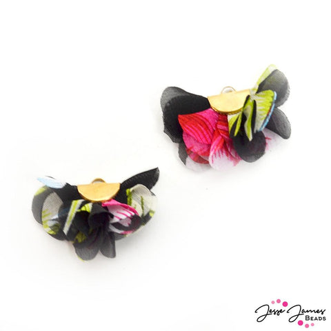 Floral Cha Cha Tassel Pair in Night Blooming Flower