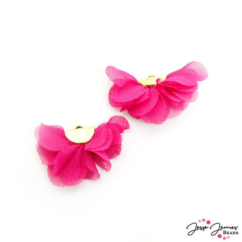 Floral Cha Cha Tassel Pair In Punch Of Pink