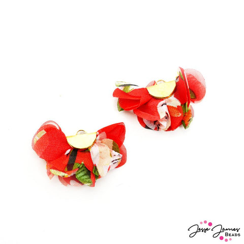 Floral Cha Cha Tassel Pair In Red Like Roses