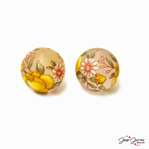 Flower of Friendship Yellow 14mm Matte Japanese Tensha Beads