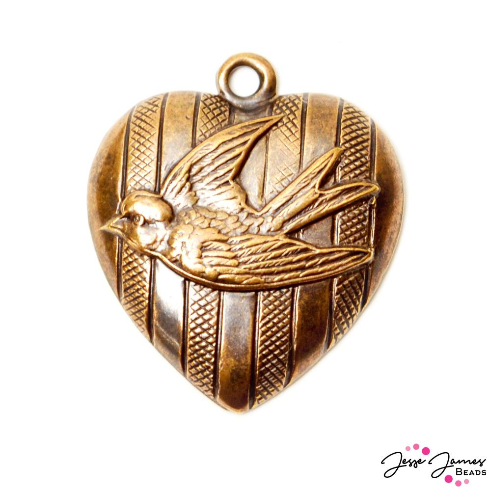 Vintaj Free To Fly Bronze Bird Pendant