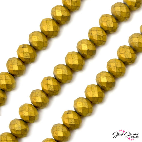 Going Gold Matte 12MM Glass Bead Set