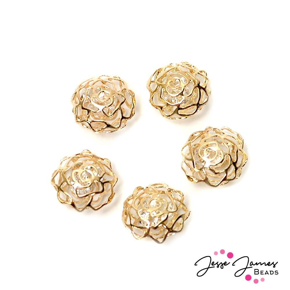 Rose Cage Crystals 5 Set Gold