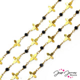 Gold Flower Beaded Metal Chain