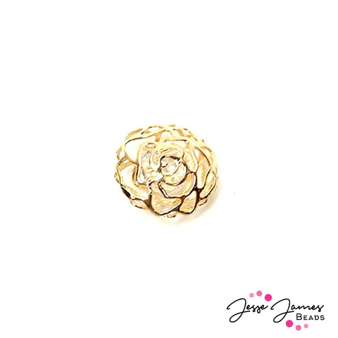 Gold Rose Cage Bead With Crystal