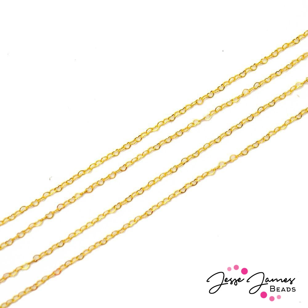 Bitty Hearts Of Gold Metal Chain