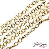 Gold Contemporary Cable Metal Chain