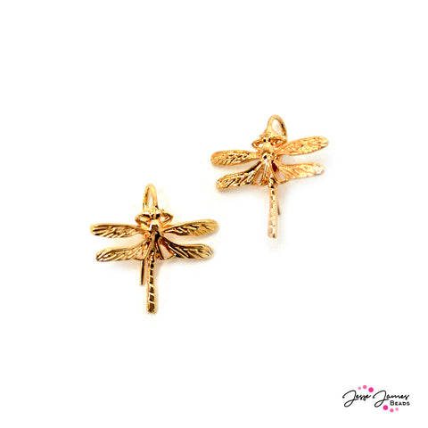 Golden Dragonfly Earring Components