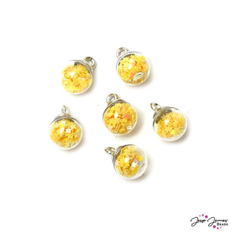 Golden Glitter Mini Bubble Ball Bead Set