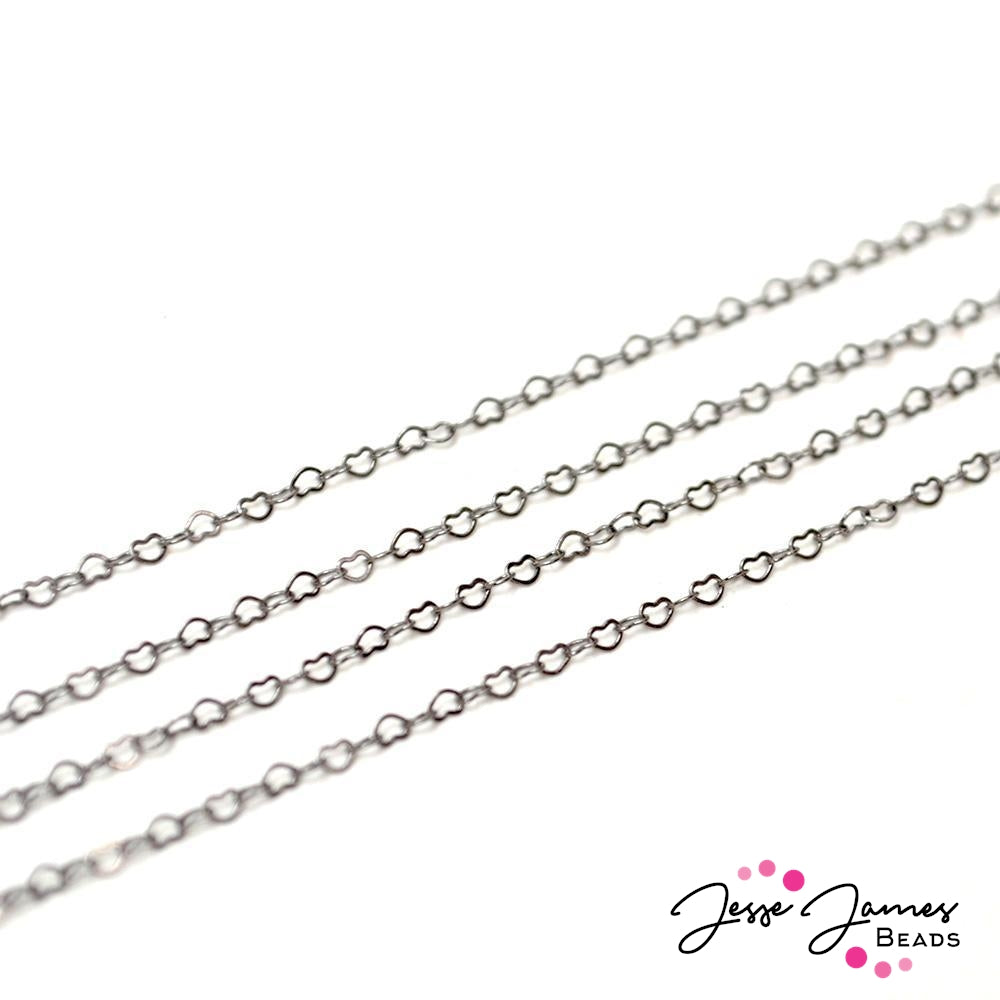 Bitty Hearts of Gunmetal Chain