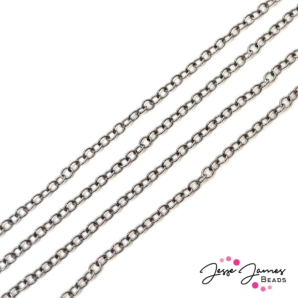 Bitty Cable Mini Chain in Gunmetal