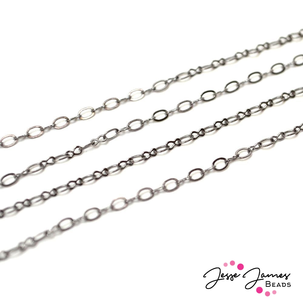 Bitty Oval Mini Chain in Gunmetal