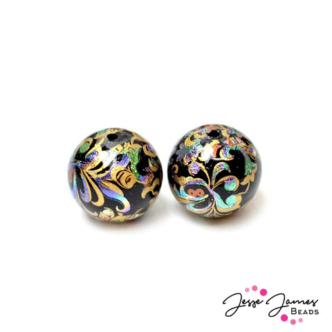 Japanese Tensha Bead Pair Holographic Haze 14MM