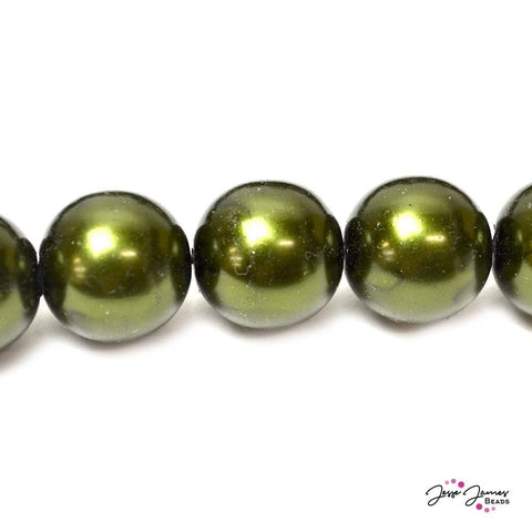 Green Hunter Big Boy 14mm Czech Glass Pearls