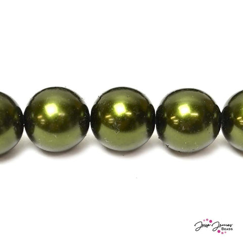 Green Hunter Big Boy 16mm Czech Glass Pearls