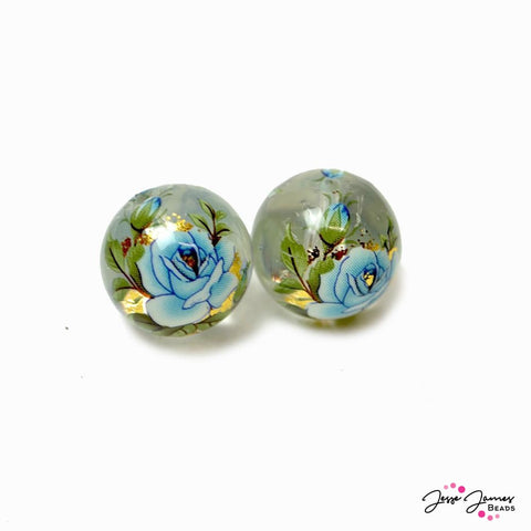 Japanese Tensha Beads in Baby Blue Gold Rose on Clear 14mm