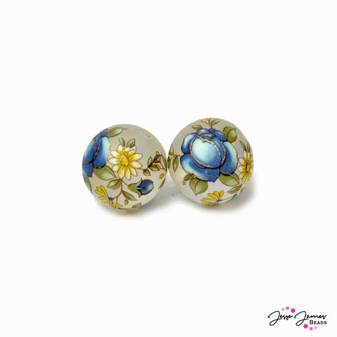 Japanese Tensha Bead Pair in Indigo Gold Rose 16mm Matte