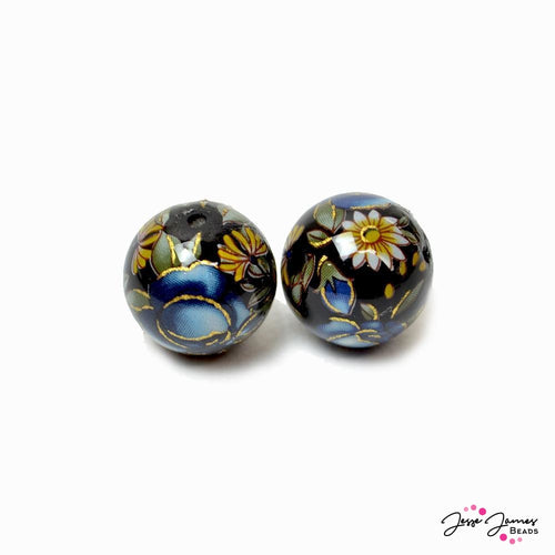 Indigo Gold Rose on Black Japanese Tensha Beads