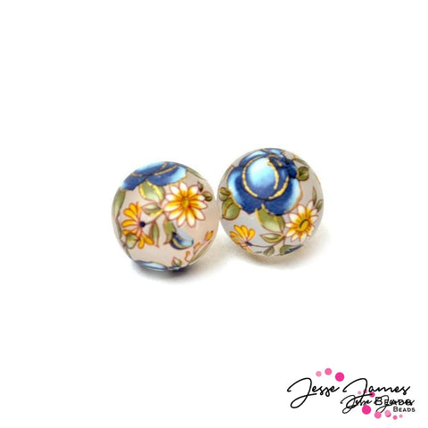 Japanese Tensha Bead Pair in Indigo Rose Matte 14mm