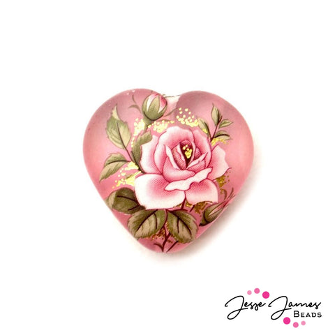 Pink Rose on Frosty Pink 23mm Heart Japanese Tensha Bead