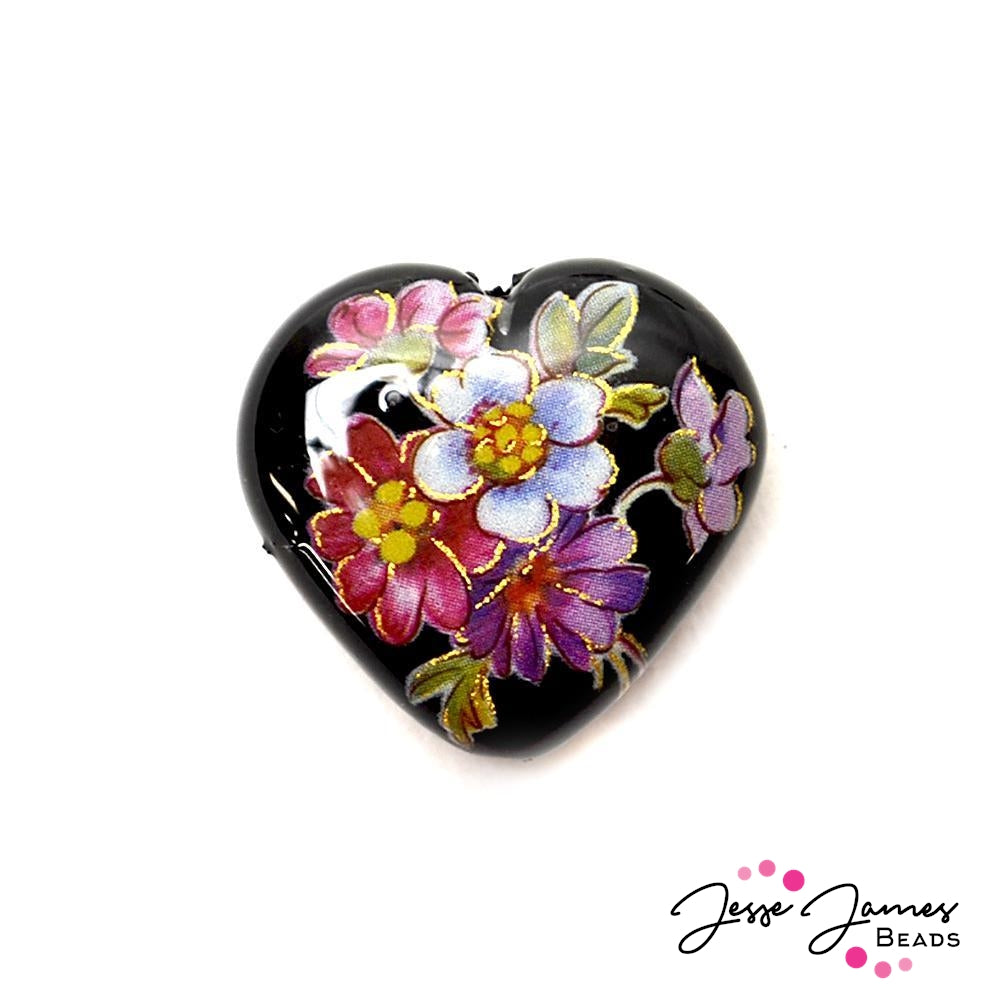 Spring Bouquet on Black 23mm Heart Japanese Tensha Bead