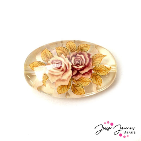 Vintage Roses on Clear 20x33mm Flat Japanese Tensha Bead