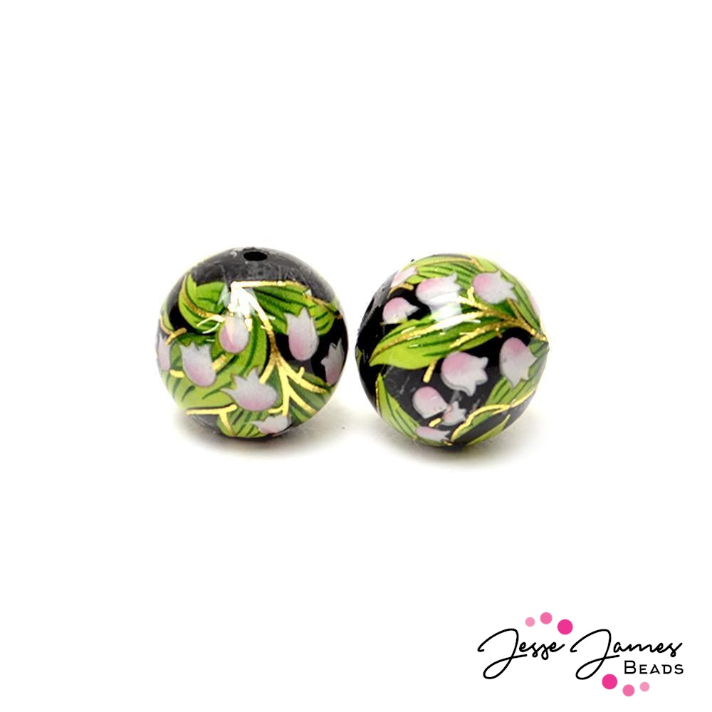 Lily of The Valley Japanese Tensha Bead Pair