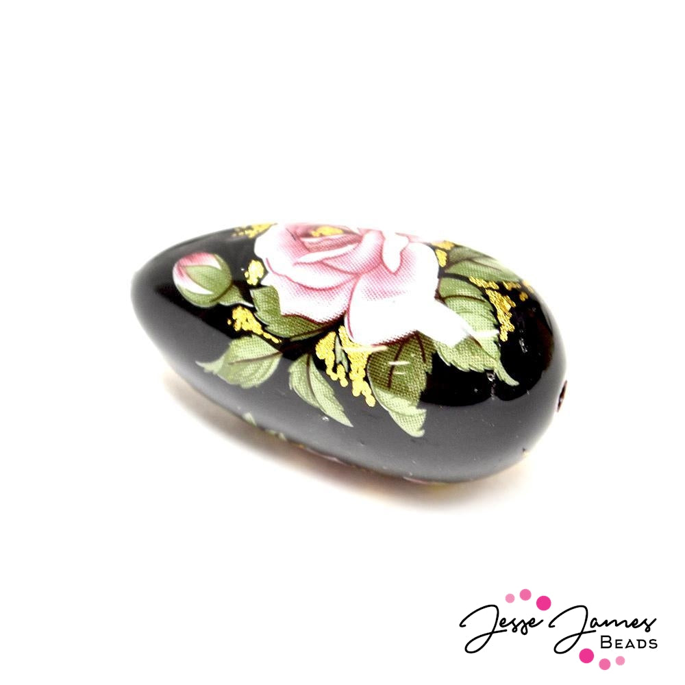 Pink Rose on Black 16x30mm Teardrop Japanese Tensha Bead