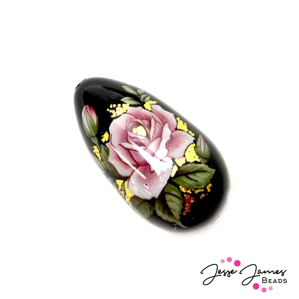 Japanese Tensha Focal Bead Pink Rose on Black 16x30mm Teardrop