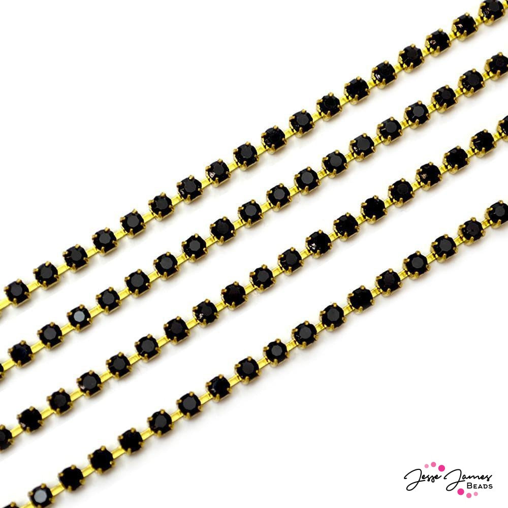 Cup Chain Preciosa Jet Black & Gold