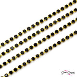 Preciosa Jet Black & Gold Cup Chain