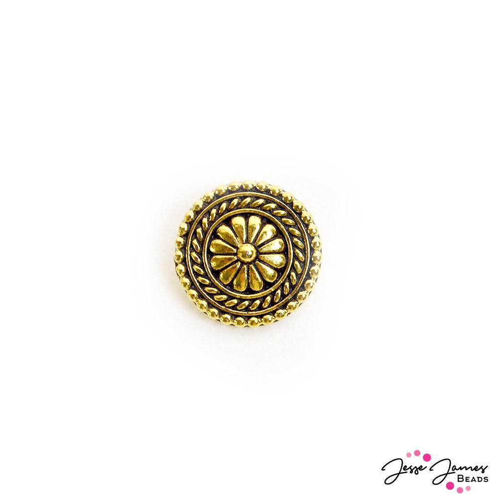 Large Bali Metal Button in Gold