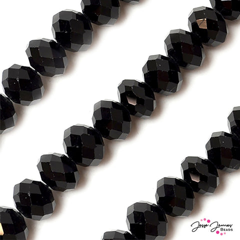 Big Boy 16mm Glass Rondelle Beads in Midnight Watch