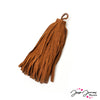 Suede Leather Tassel in Camel
