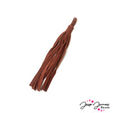 Skinny Suede Leather Tassel in Rust