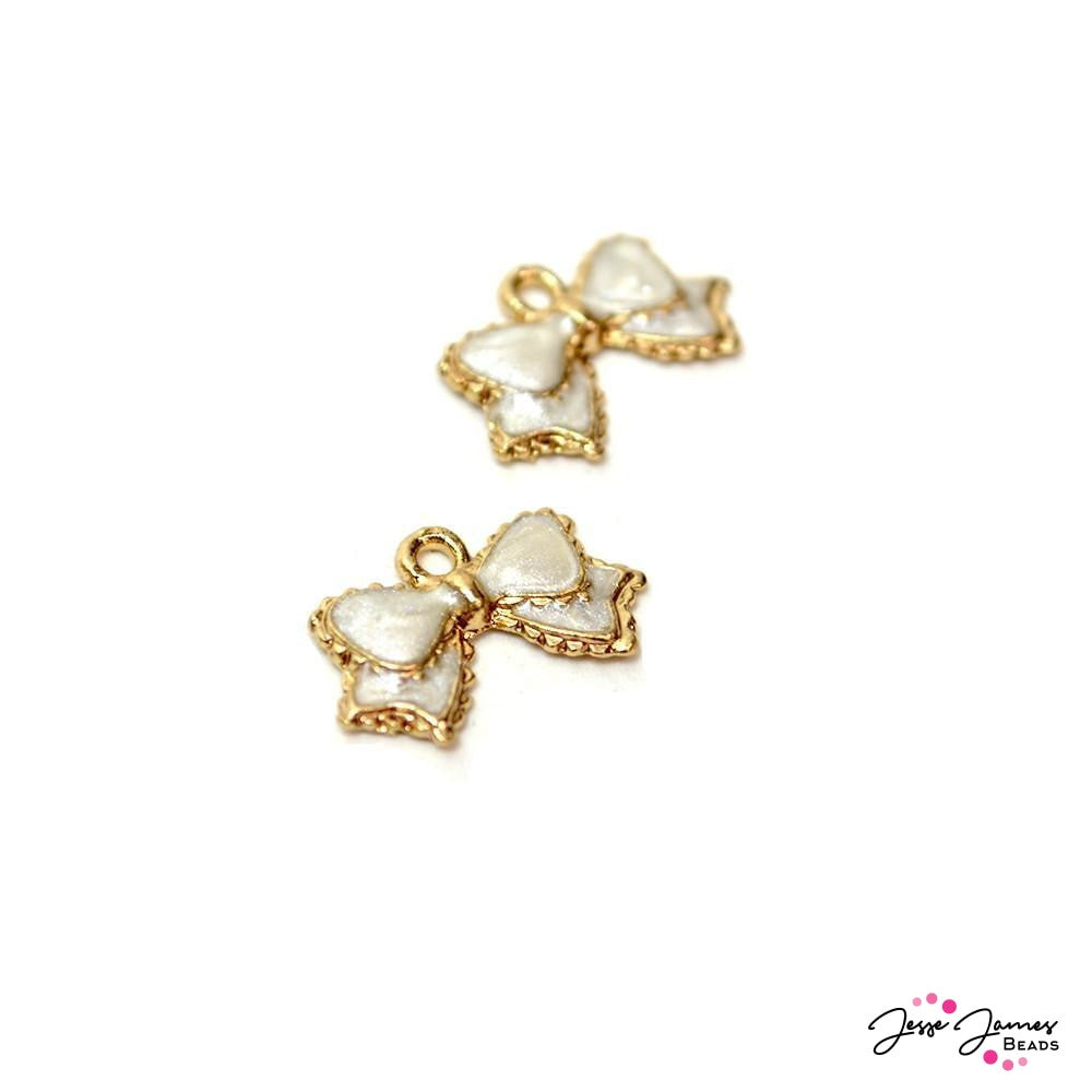 Little White Bow Charm Pair