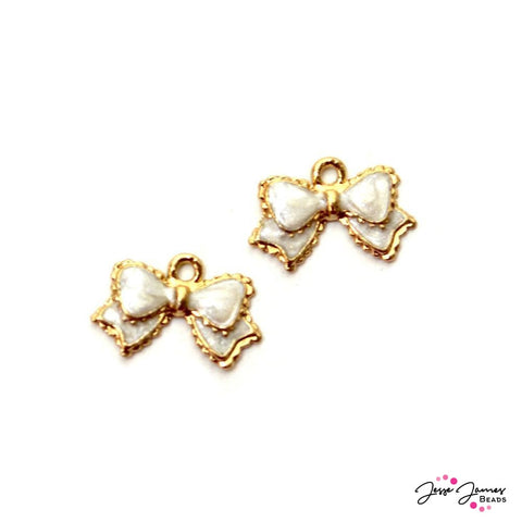 Charm Pair Little White Bow