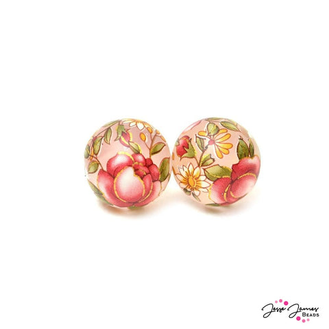 Japanese Tensha Bead Pair Pink Rose Matte 14mm