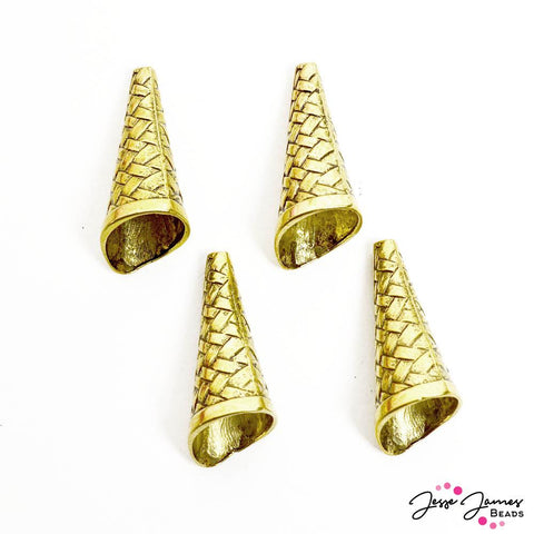 Metal Bead Cone Set in Elegant Weave Gold