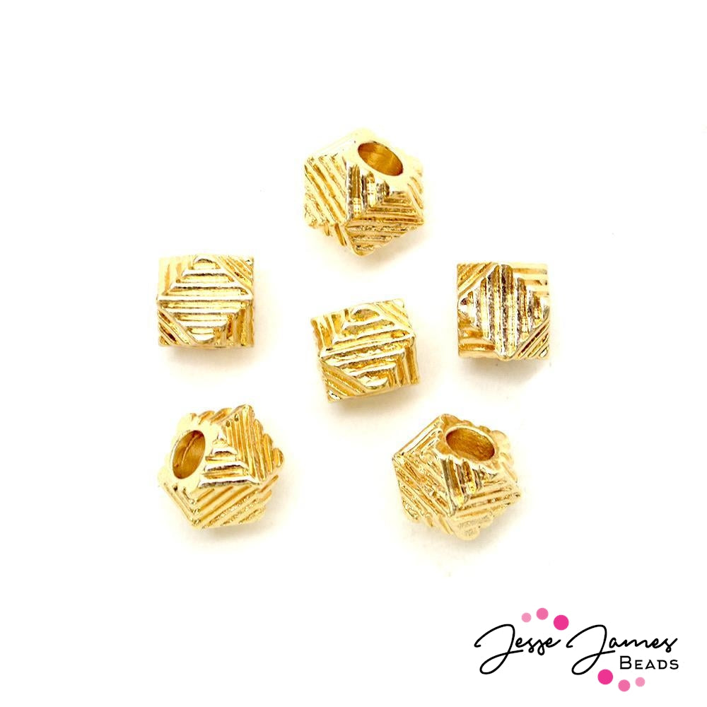 Bead Set Geo Dome Large Hole in Gold