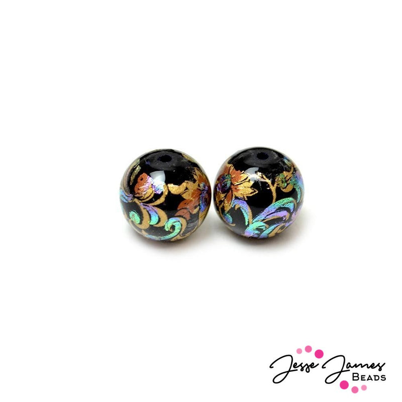 Japanese Tensha Bead Pair Mini Holographic Haze 12MM
