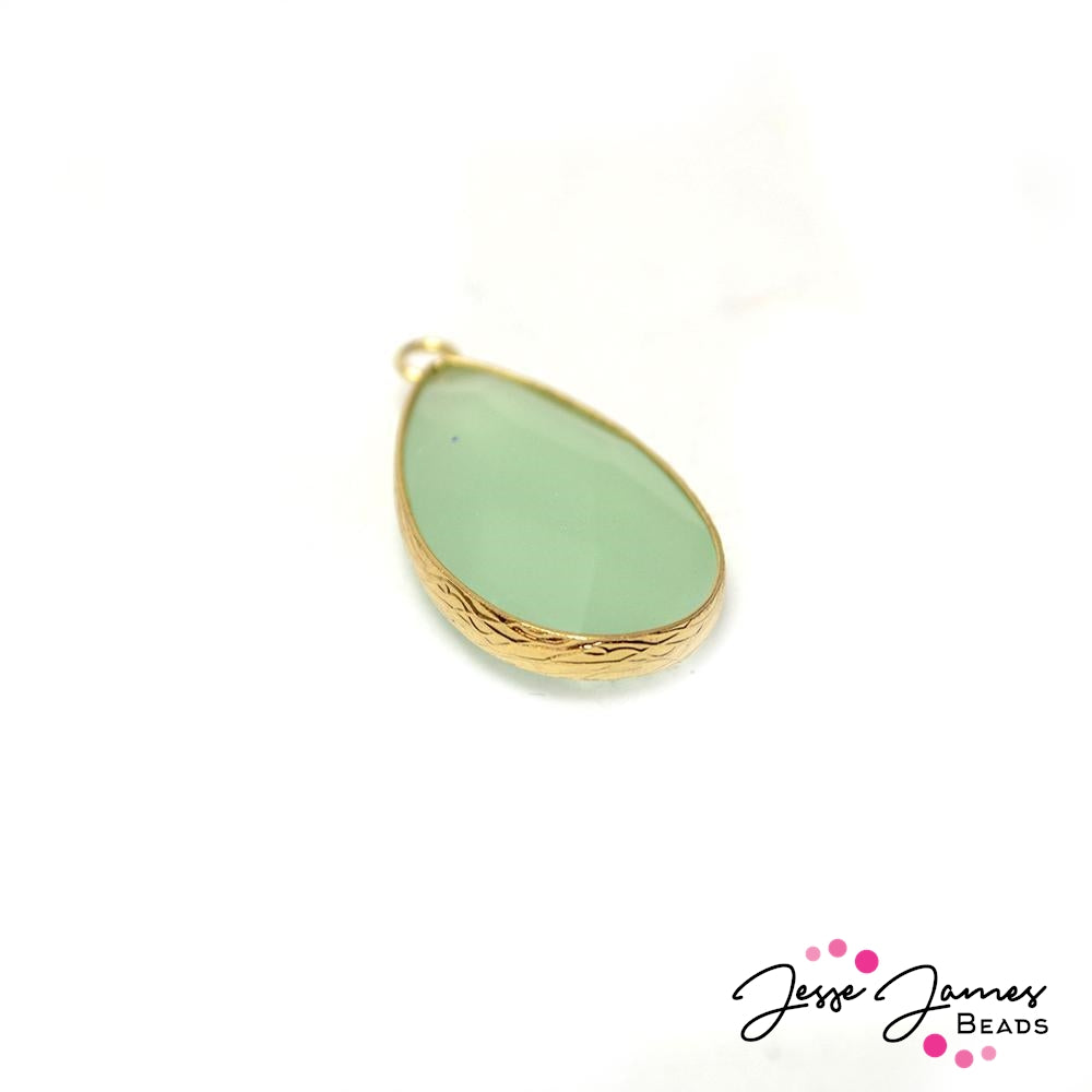 Mint Tea Teardrop Stone Charm