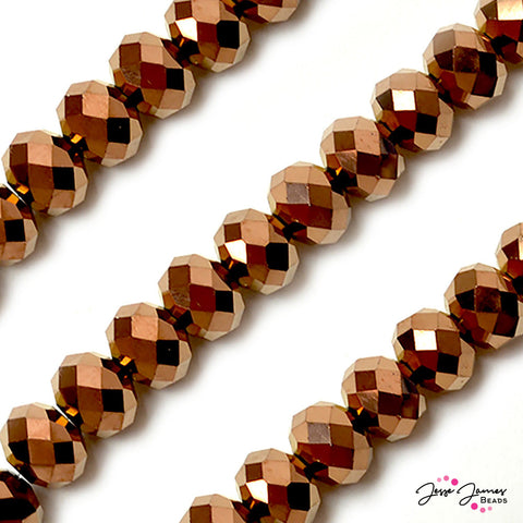 Big Boy Rondelle Glass Beads in Metallic Cocoa Roast 14mm
