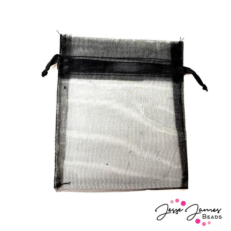 Black Large Organza Bags - 10 Pack