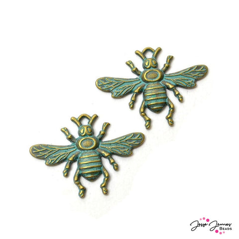 Patina Honey Bee Charm Set