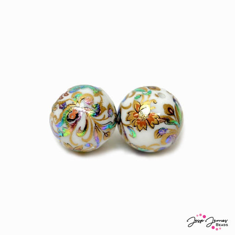 Peacock Twirl on Opaque White 14mm Japanese Tensha Beads